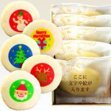 クリスマスのイラスト入り もっちり白いどら焼き (5個入り)